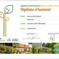 Campagne Villes et Villages Fleuris 2019 : mention bien