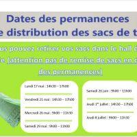 Permanences de distribution des sacs de tri par le SMICTOM